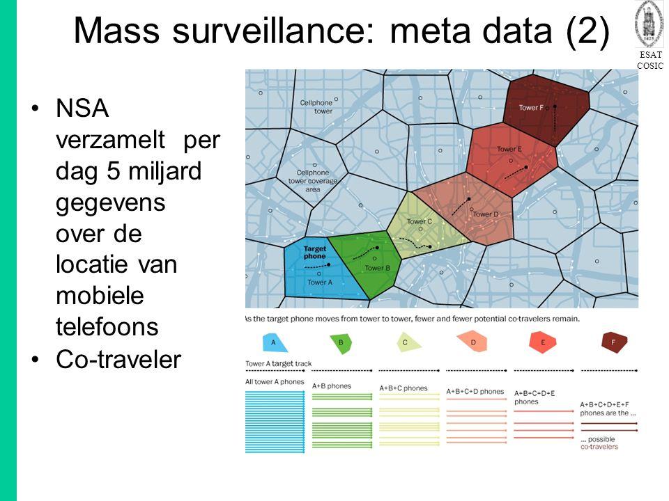 ESAT COSIC Mass surveillance: meta data (2) NSA verzamelt per dag 5 miljard gegevens over de locatie van mobiele telefoons Co-traveler