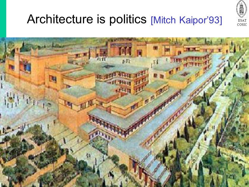 ESAT COSIC © K.U.Leuven COSIC, Bart Preneel 432 April 2015 Architecture is politics [Mitch Kaipor'93]