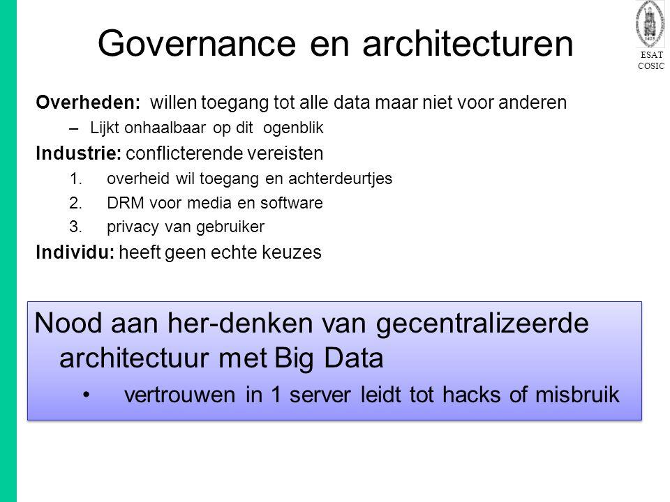 ESAT COSIC Governance en architecturen Overheden: willen toegang tot alle data maar niet voor anderen –Lijkt onhaalbaar op dit ogenblik Industrie: con