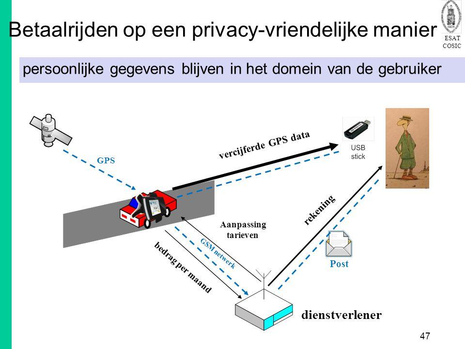 ESAT COSIC 47 Betaalrijden op een privacy-vriendelijke manier persoonlijke gegevens blijven in het domein van de gebruiker GPS dienstverlener vercijferde GPS data Post rekening Aanpassing tarieven GSM netwerk bedrag per maand