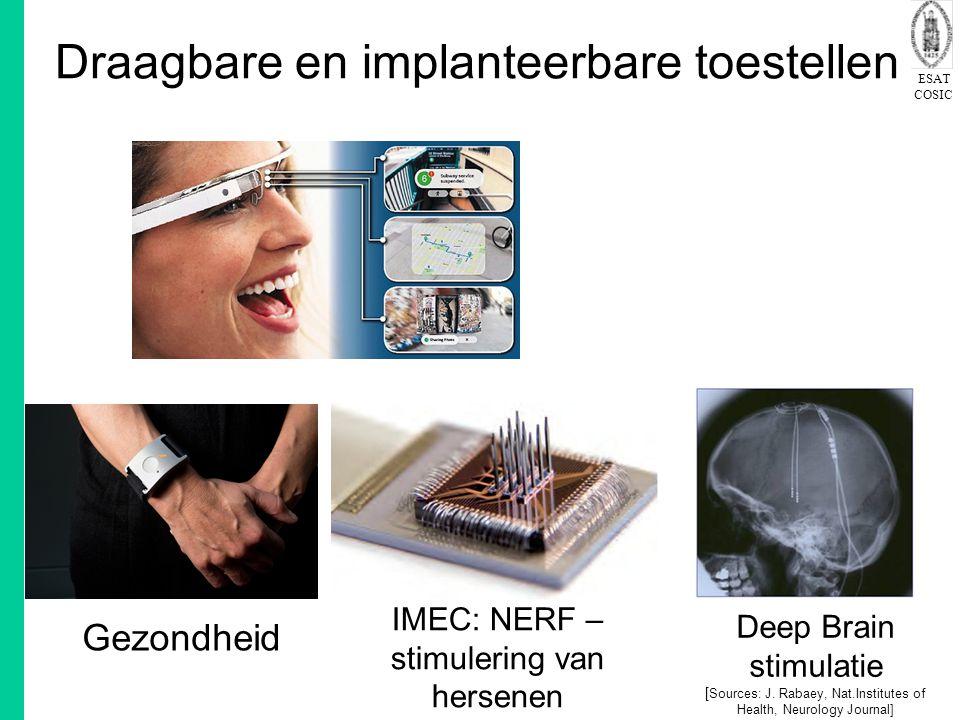 ESAT COSIC Draagbare en implanteerbare toestellen IMEC: NERF – stimulering van hersenen Deep Brain stimulatie [ Sources: J. Rabaey, Nat.Institutes of