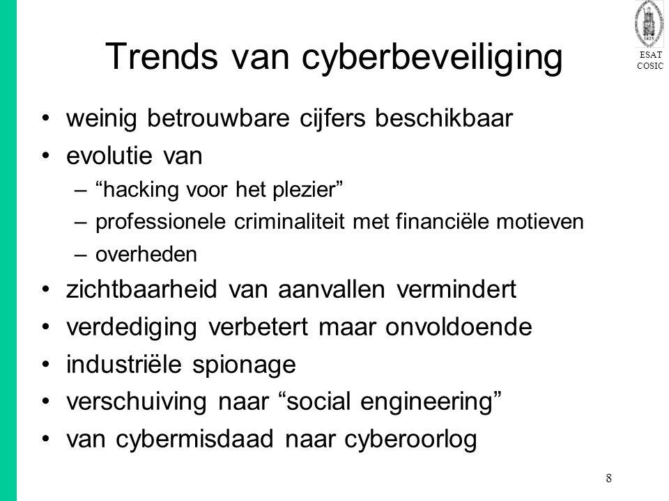 """ESAT COSIC 8 Trends van cyberbeveiliging weinig betrouwbare cijfers beschikbaar evolutie van –""""hacking voor het plezier"""" –professionele criminaliteit"""