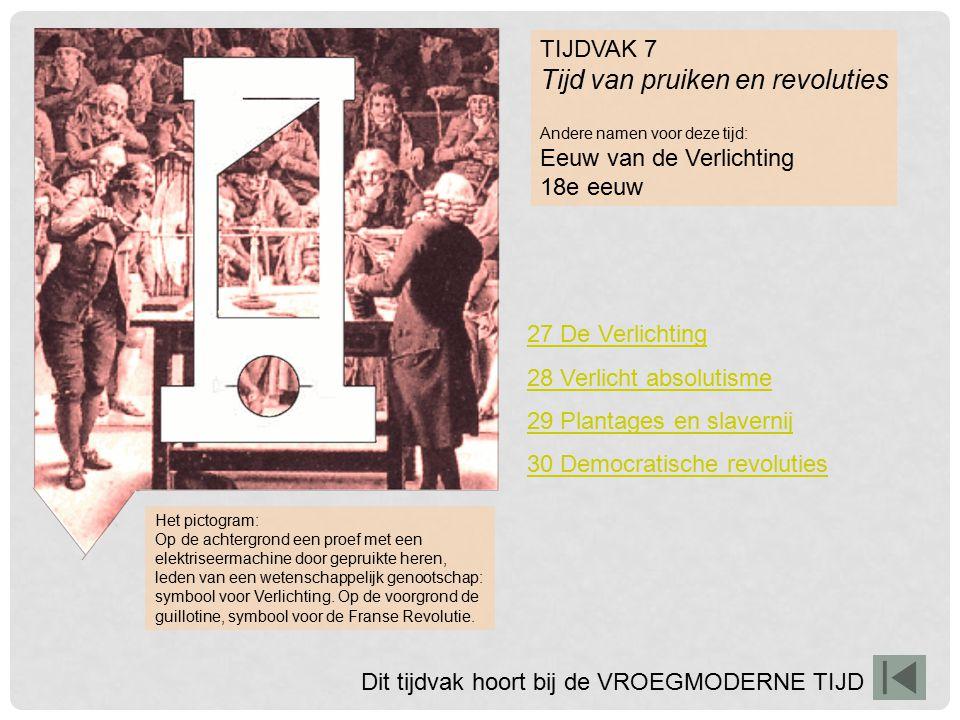 TIJDVAK 7 Tijd van pruiken en revoluties Andere namen voor deze tijd: Eeuw van de Verlichting 18e eeuw Het pictogram: Op de achtergrond een proef met