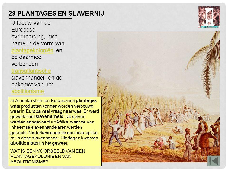 29 PLANTAGES EN SLAVERNIJ Uitbouw van de Europese overheersing, met name in de vorm van plantagekoloniën en de daarmee verbonden transatlantische slav