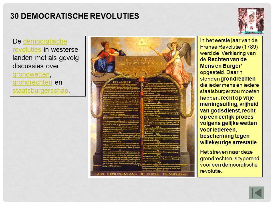30 DEMOCRATISCHE REVOLUTIES In het eerste jaar van de Franse Revolutie (1789) werd de 'Verklaring van de Rechten van de Mens en Burger' opgesteld. Daa