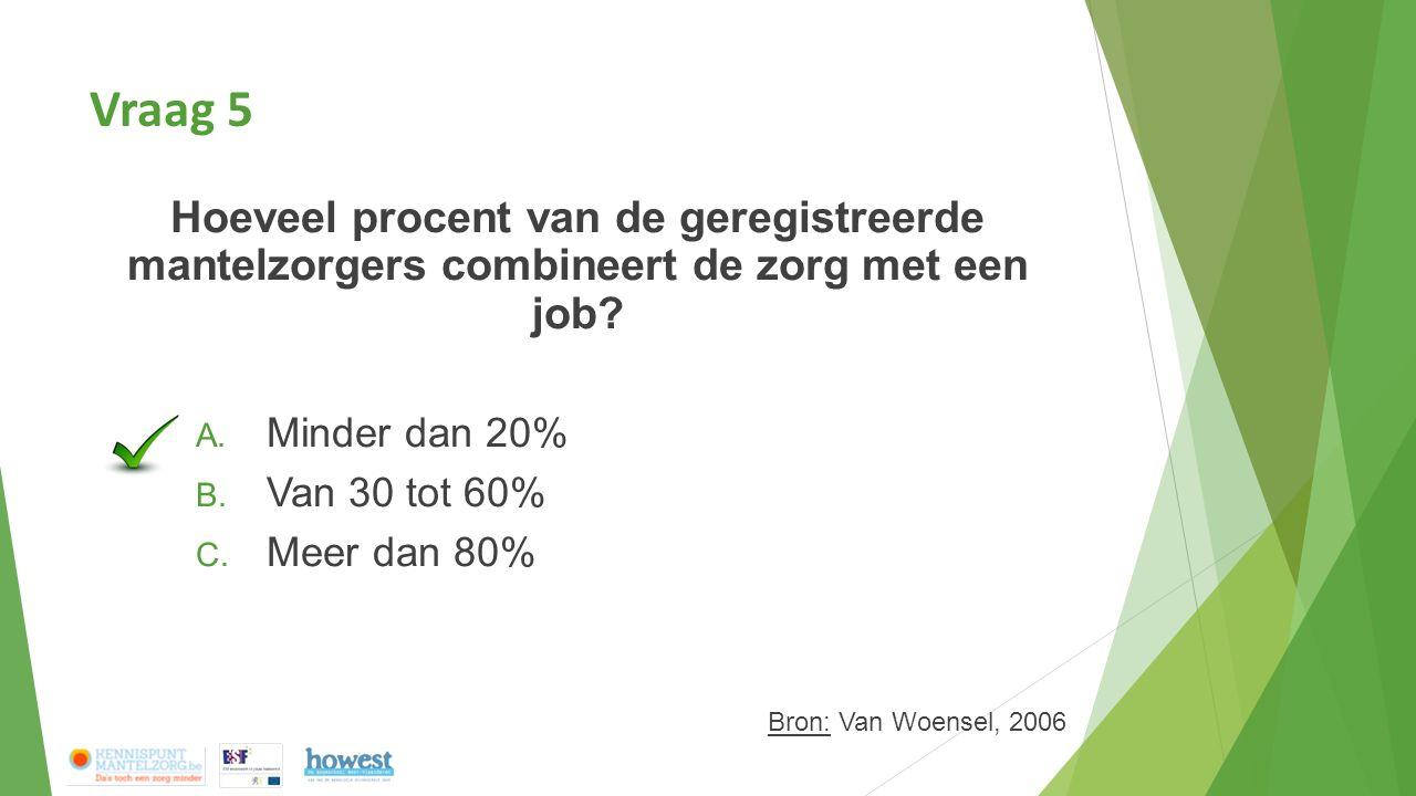 Vraag 5 Hoeveel procent van de geregistreerde mantelzorgers combineert de zorg met een job? A. Minder dan 20% B. Van 30 tot 60% C. Meer dan 80% Bron: