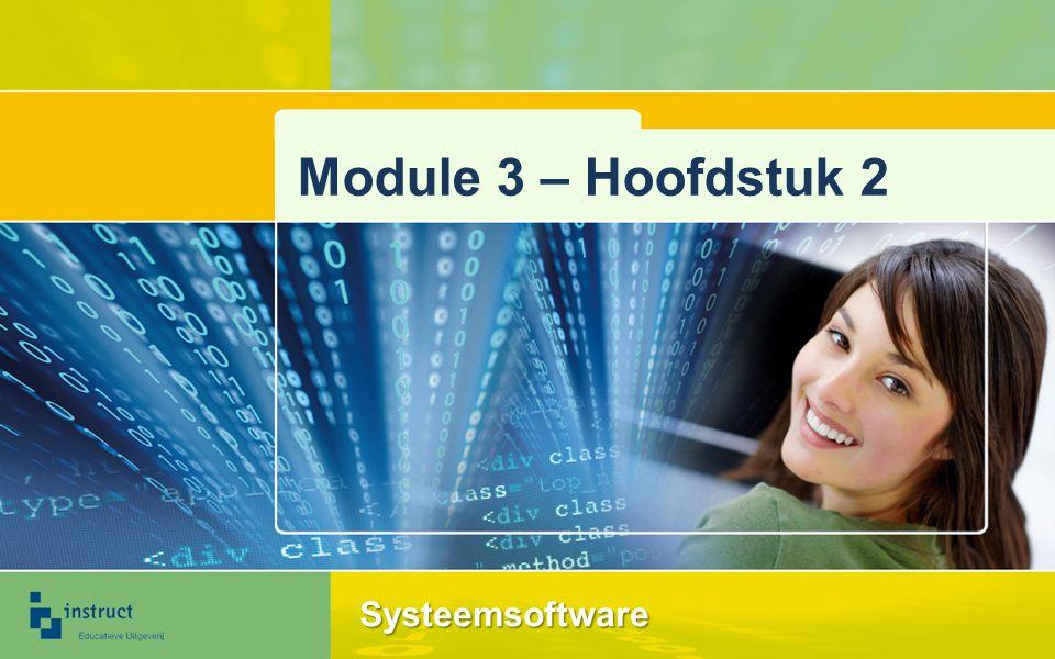 Besturingssysteem Beheer van hulpbronnen Bestandsbeheer Taakbeheer Uitvoeren van software is een 'taak' in het besturingssysteem 2