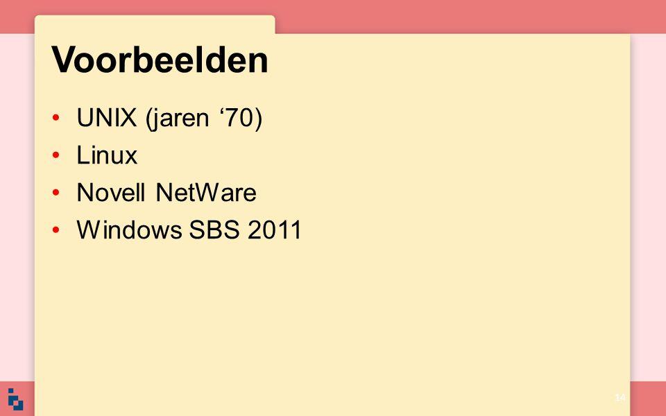 Voorbeelden UNIX (jaren '70) Linux Novell NetWare Windows SBS 2011 14