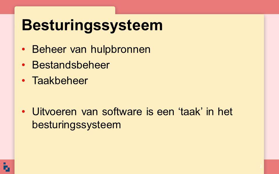 Drivers Besturingssysteem kan taken alleen uitvoeren als de juiste drivers geïnstalleerd zijn Driver vormt de schakel tussen het besturingssysteem en een randapparaat