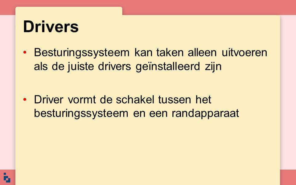 Drivers Besturingssysteem kan taken alleen uitvoeren als de juiste drivers geïnstalleerd zijn Driver vormt de schakel tussen het besturingssysteem en