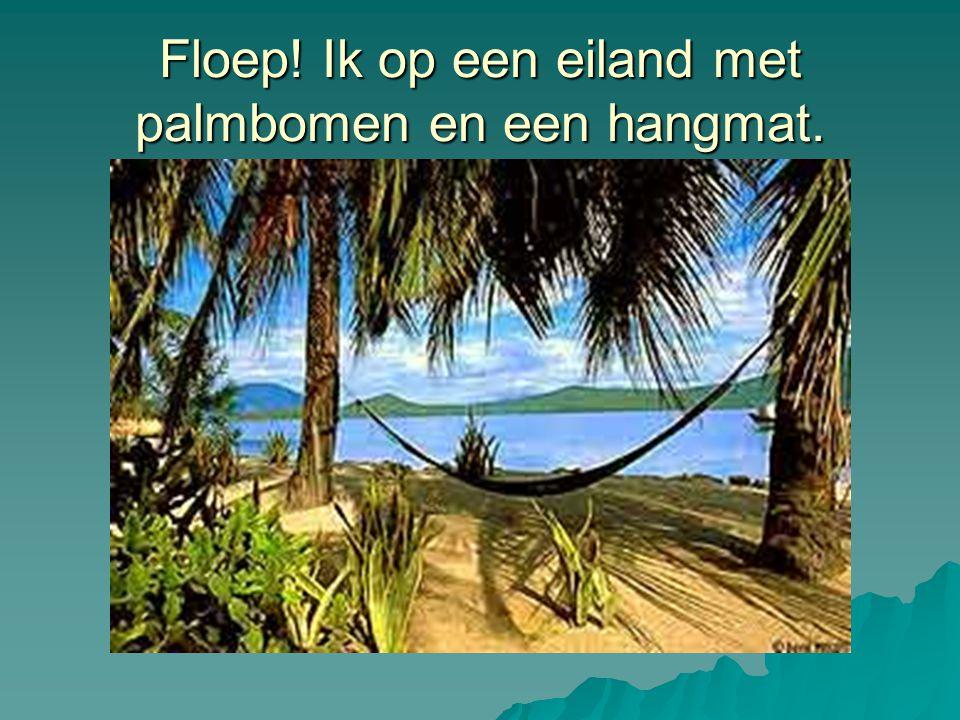 Floep! Ik op een eiland met palmbomen en een hangmat.