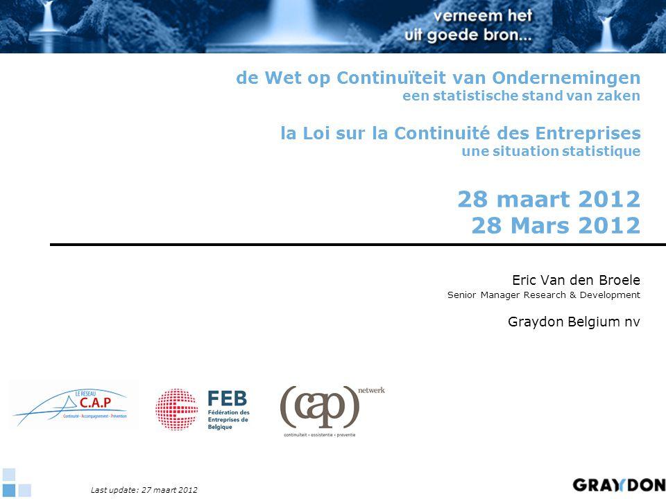 de Wet op Continuïteit van Ondernemingen een statistische stand van zaken la Loi sur la Continuité des Entreprises une situation statistique 28 maart