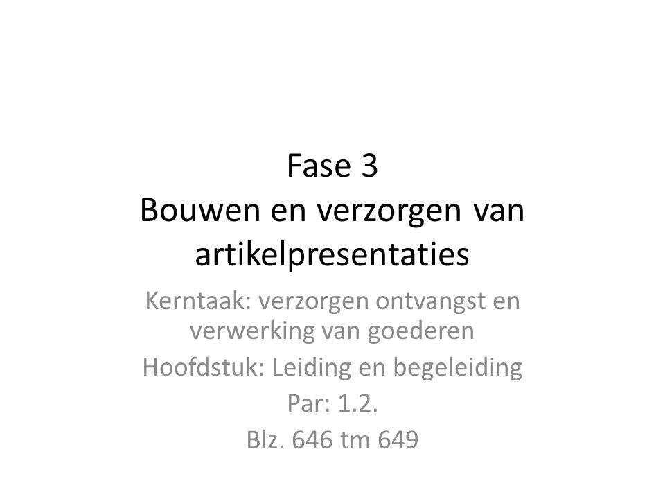 Fase 3 Bouwen en verzorgen van artikelpresentaties Kerntaak: verzorgen ontvangst en verwerking van goederen Hoofdstuk: Leiding en begeleiding Par: 1.2.