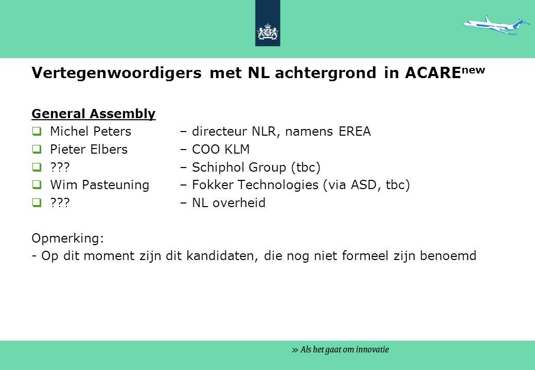 Vertegenwoordigers met NL achtergrond in ACARE new General Assembly  Michel Peters – directeur NLR, namens EREA  Pieter Elbers – COO KLM  .
