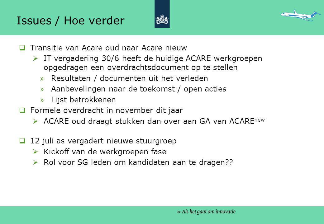Issues / Hoe verder  Nederlandse deelname in de werkgroepen  Verzoek voor deelnemers loopt naar verwachting ook via de Associaties (ASD, IATA, ACI...) en wellicht de lidstaten  Een Nederlandse coordinatie groep lijkt een noodzaak  11 juli as vergadering van NL-betrokkenen in GA en SG  Suggesties en vragen voorlopig via AgentschapNL – Luchtvaart (GKL)