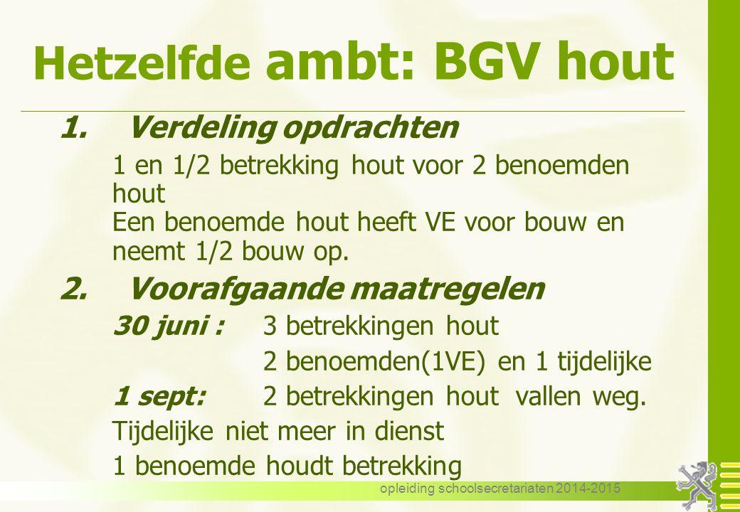 opleiding schoolsecretariaten 2014-2015 Hetzelfde ambt: BGV hout 1.Verdeling opdrachten 1 en 1/2 betrekking hout voor 2 benoemden hout Een benoemde hout heeft VE voor bouw en neemt 1/2 bouw op.