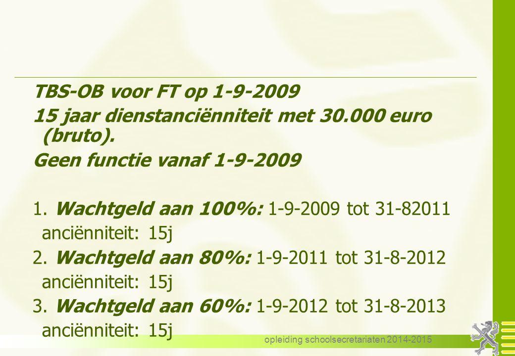 opleiding schoolsecretariaten 2014-2015 TBS-OB voor FT op 1-9-2009 15 jaar dienstanciënniteit met 30.000 euro (bruto).