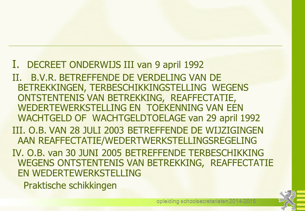 opleiding schoolsecretariaten 2014-2015 Vlaamse reaffectatiecommissie m.i.v.