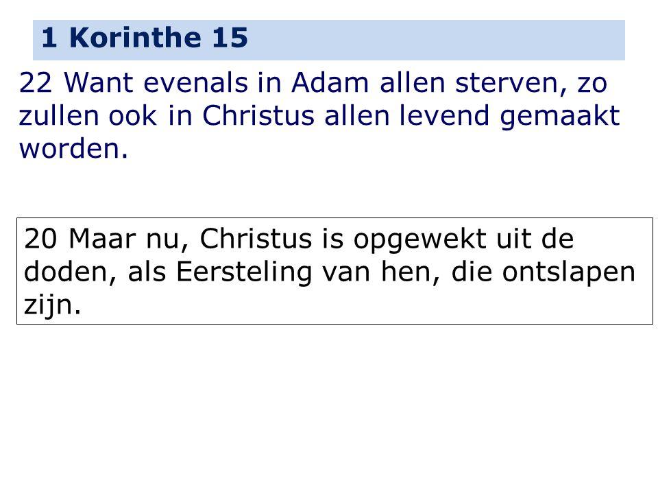 1 Korinthe 15 22 Want evenals in Adam allen sterven, zo zullen ook in Christus allen levend gemaakt worden. 20 Maar nu, Christus is opgewekt uit de do