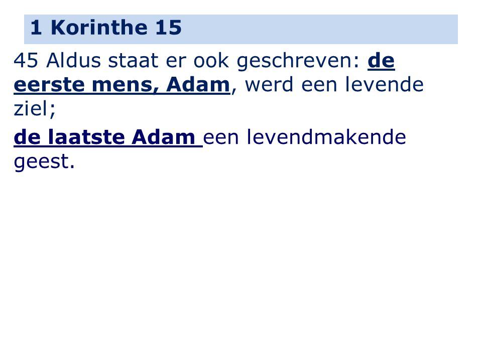 1 Korinthe 15 45 Aldus staat er ook geschreven: de eerste mens, Adam, werd een levende ziel; de laatste Adam een levendmakende geest.