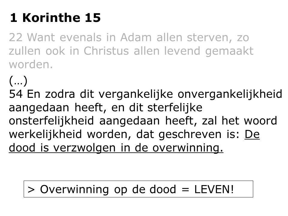 1 Korinthe 15 22 Want evenals in Adam allen sterven, zo zullen ook in Christus allen levend gemaakt worden. (…) 54 En zodra dit vergankelijke onvergan