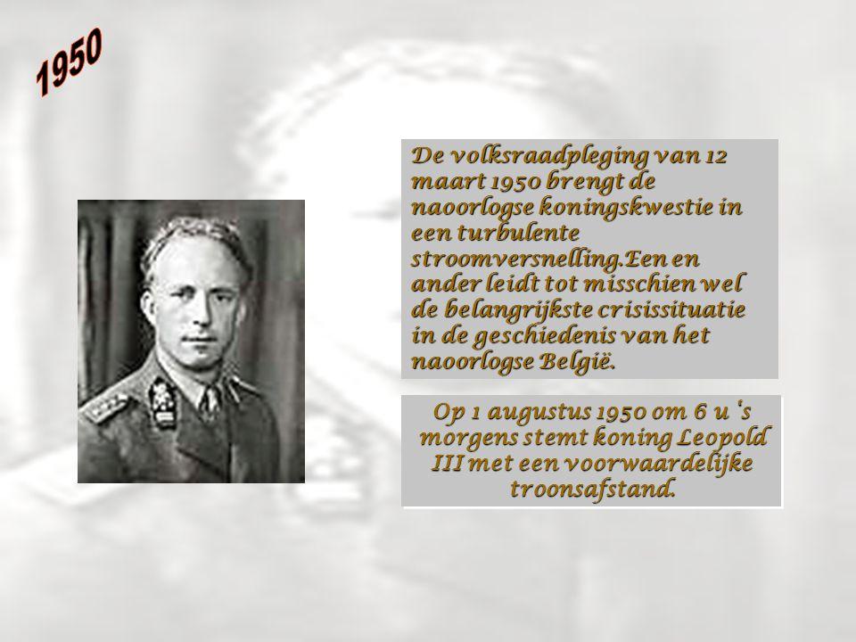 De volksraadpleging van 12 maart 1950 brengt de naoorlogse koningskwestie in een turbulente stroomversnelling.Een en ander leidt tot misschien wel de belangrijkste crisissituatie in de geschiedenis van het naoorlogse België.