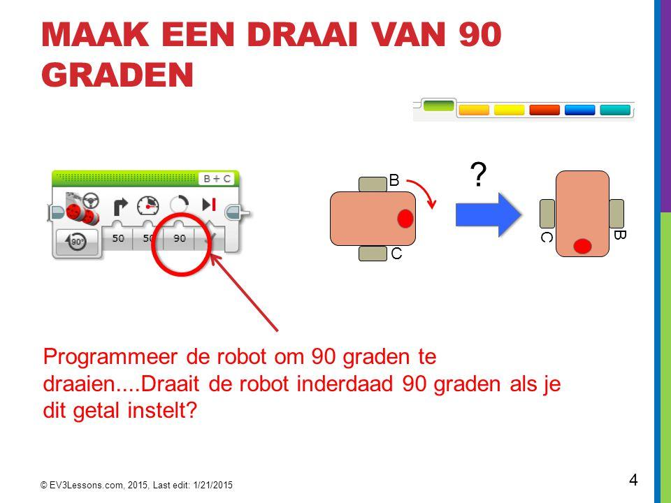 4 MAAK EEN DRAAI VAN 90 GRADEN Programmeer de robot om 90 graden te draaien....Draait de robot inderdaad 90 graden als je dit getal instelt.