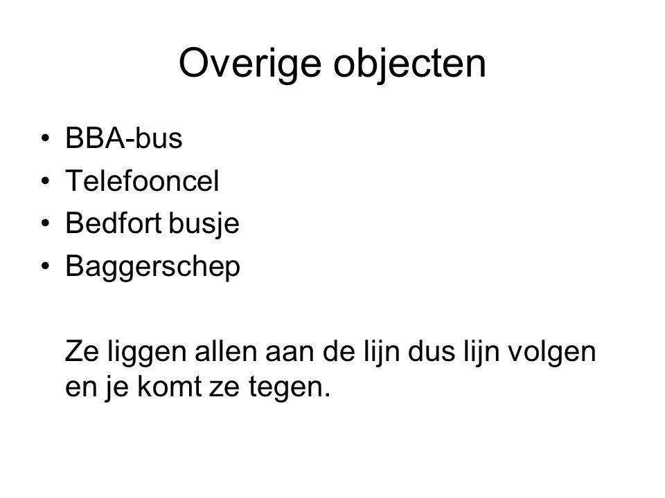 Overige objecten BBA-bus Telefooncel Bedfort busje Baggerschep Ze liggen allen aan de lijn dus lijn volgen en je komt ze tegen.