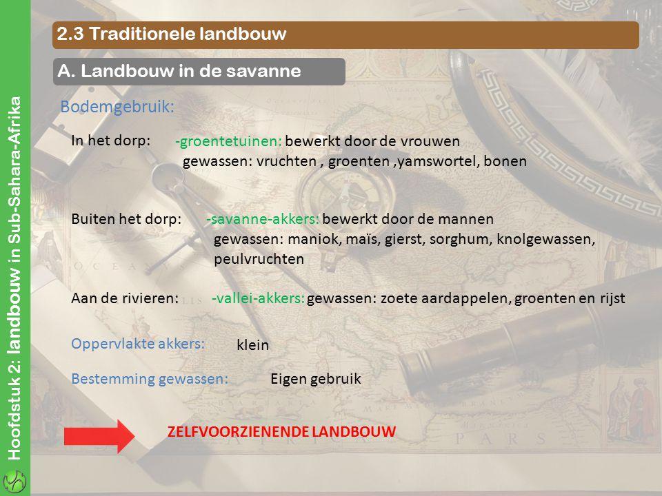 Hoofdstuk 2: landbouw in Sub-Sahara-Afrika 2.3 Traditionele landbouw A. Landbouw in de savanne Bodemgebruik: In het dorp: Buiten het dorp: Aan de rivi