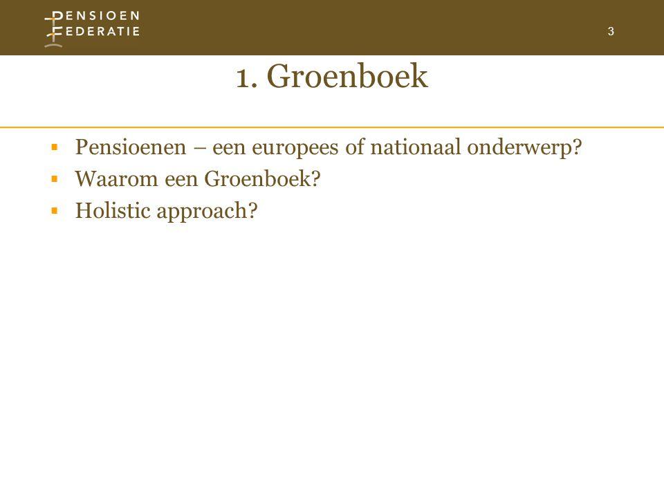 3 1. Groenboek  Pensioenen – een europees of nationaal onderwerp?  Waarom een Groenboek?  Holistic approach?