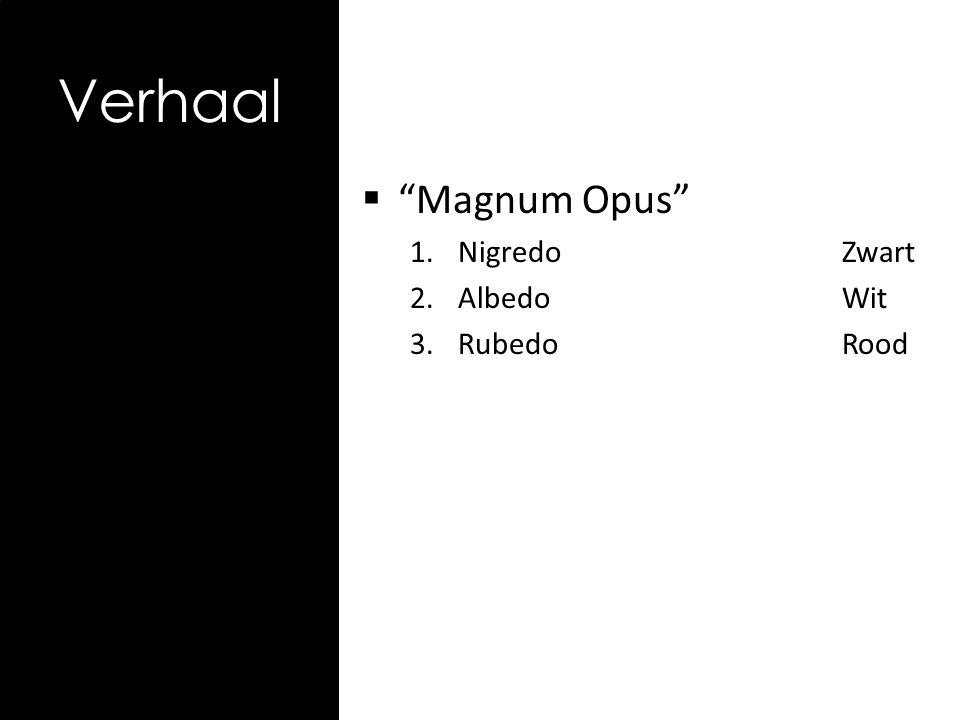 Magnum Opus 1.NigredoZwart 2.AlbedoWit 3.RubedoRood Verhaal