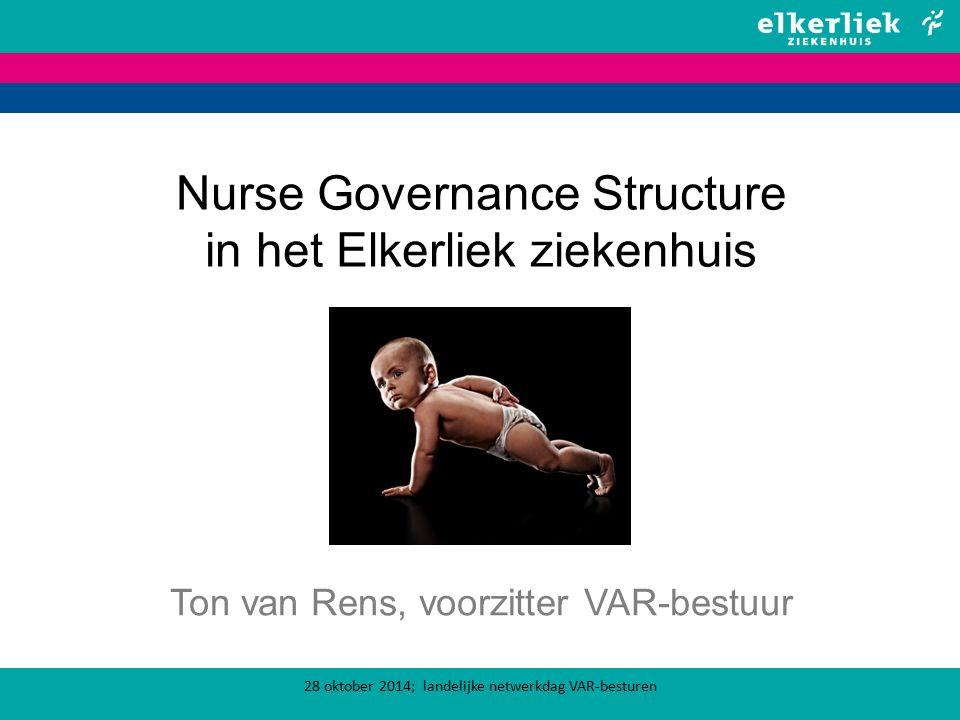 Nurse Governance Structure in het Elkerliek ziekenhuis Ton van Rens, voorzitter VAR-bestuur 28 oktober 2014; landelijke netwerkdag VAR-besturen