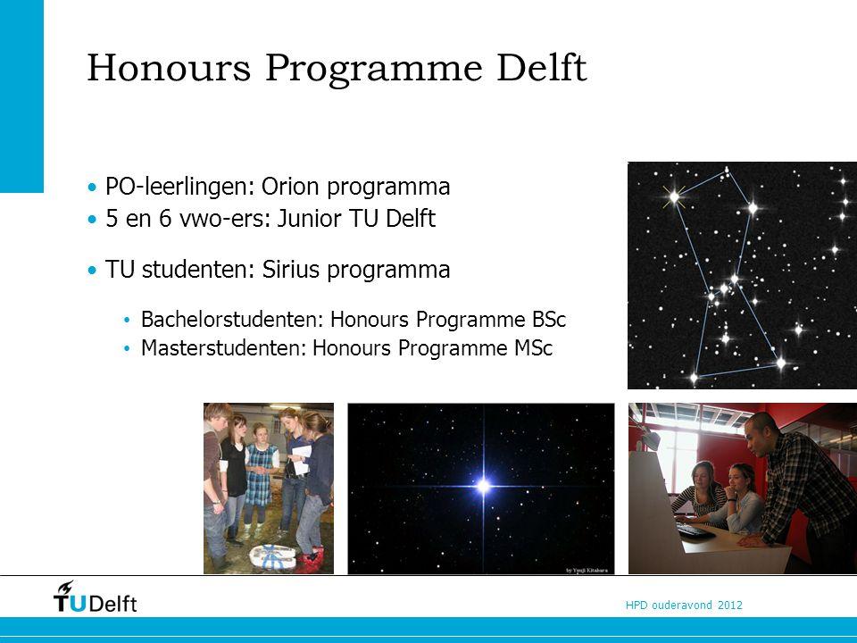 HPD ouderavond 2012 Wat is Honours Programme BSc? Challenge your talent!