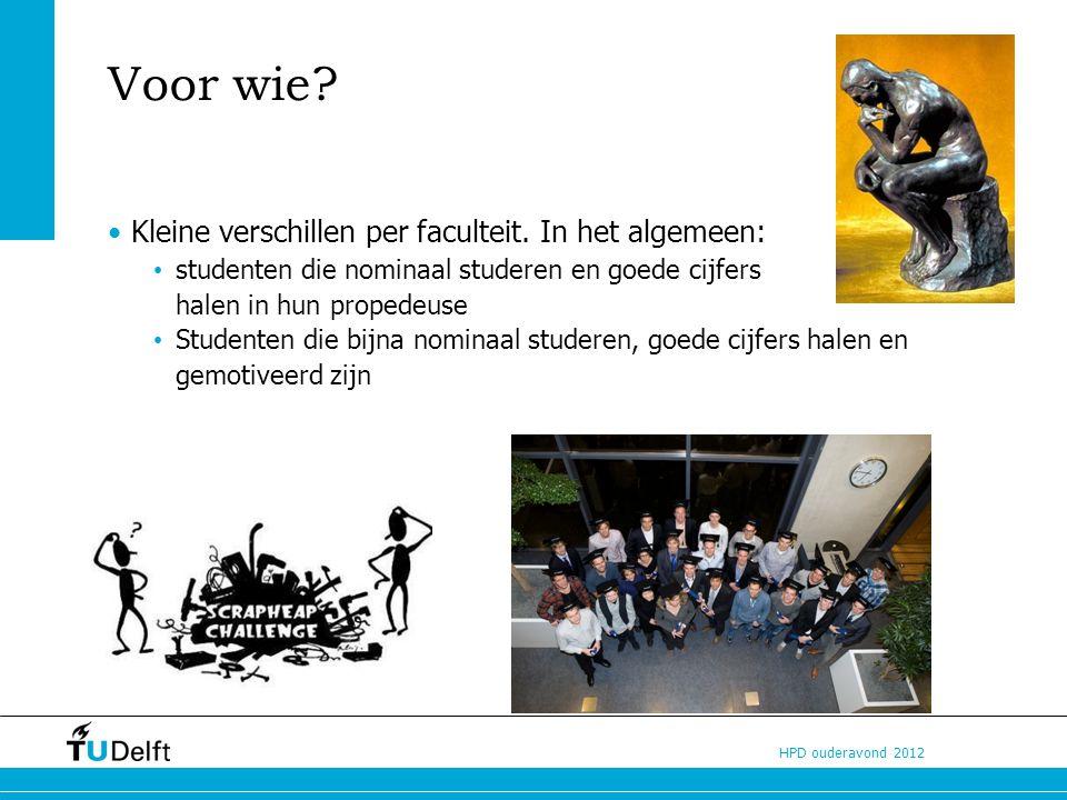 HPD ouderavond 2012 Voor wie.Kleine verschillen per faculteit.