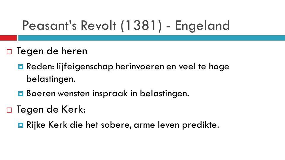 Peasant's Revolt (1381) - Engeland  Tegen de heren  Reden: lijfeigenschap herinvoeren en veel te hoge belastingen.  Boeren wensten inspraak in bela