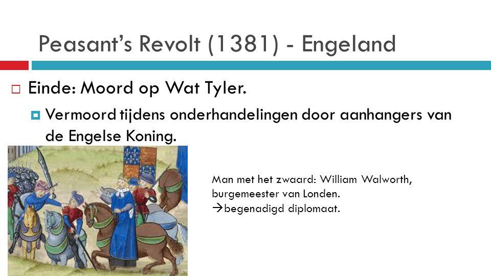 Peasant's Revolt (1381) - Engeland  Einde: Moord op Wat Tyler.  Vermoord tijdens onderhandelingen door aanhangers van de Engelse Koning. Man met het