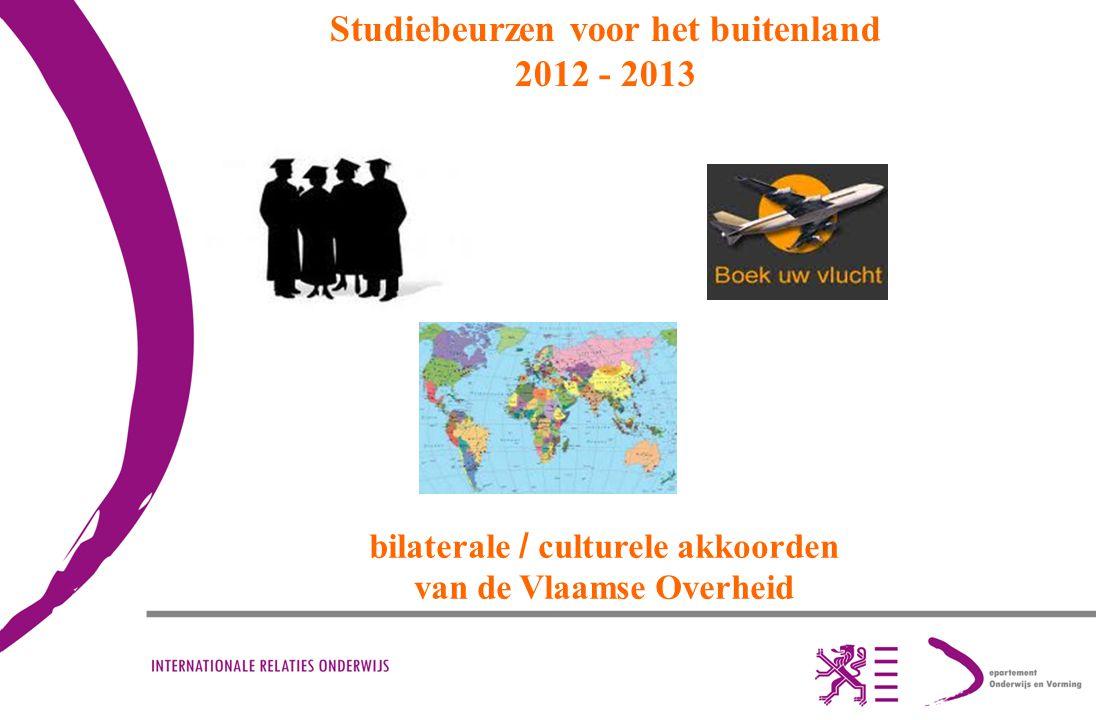 Studiebeurzen voor het buitenland 2012 - 2013 bilaterale / culturele akkoorden van de Vlaamse Overheid
