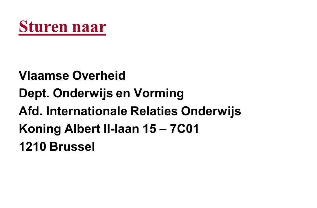 Sturen naar Vlaamse Overheid Dept.Onderwijs en Vorming Afd.