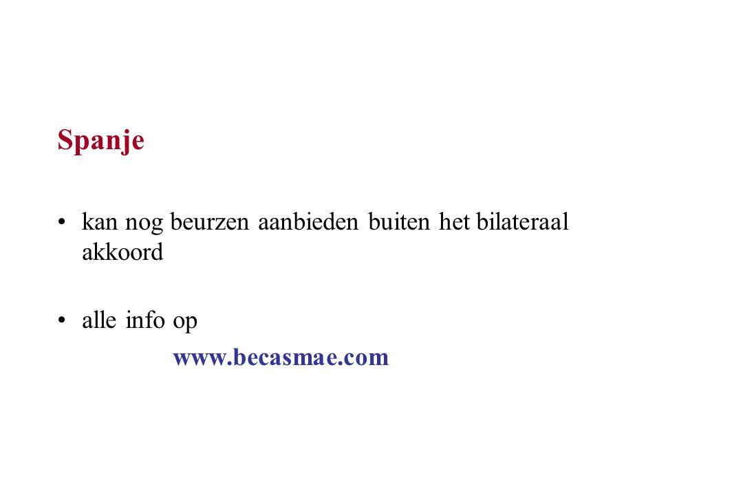 Spanje kan nog beurzen aanbieden buiten het bilateraal akkoord alle info op www.becasmae.com