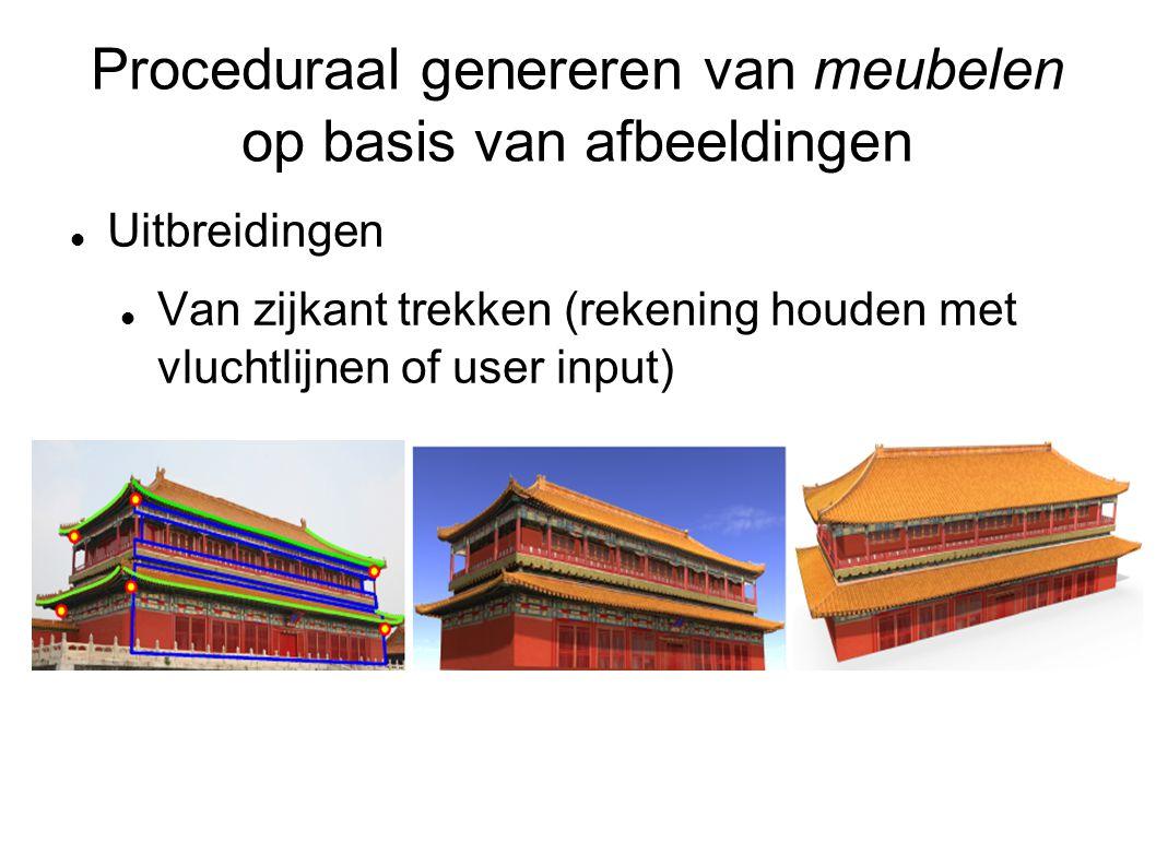 Proceduraal genereren van meubelen op basis van afbeeldingen Uitbreidingen Van zijkant trekken (rekening houden met vluchtlijnen of user input)