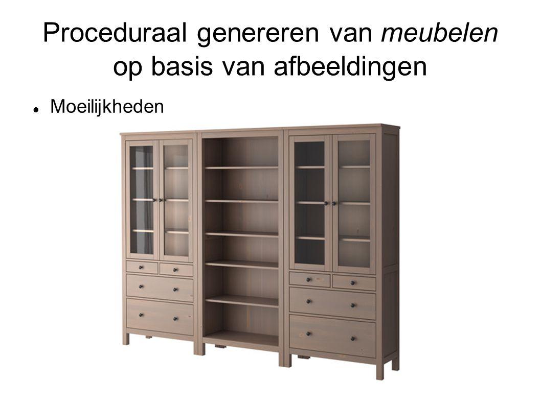 Proceduraal genereren van meubelen op basis van afbeeldingen Moeilijkheden Weinig structuur (stoelen, bedden...) Ruis door andere objecten (spullen op meubilair) Meer afhankelijkheid van diepte