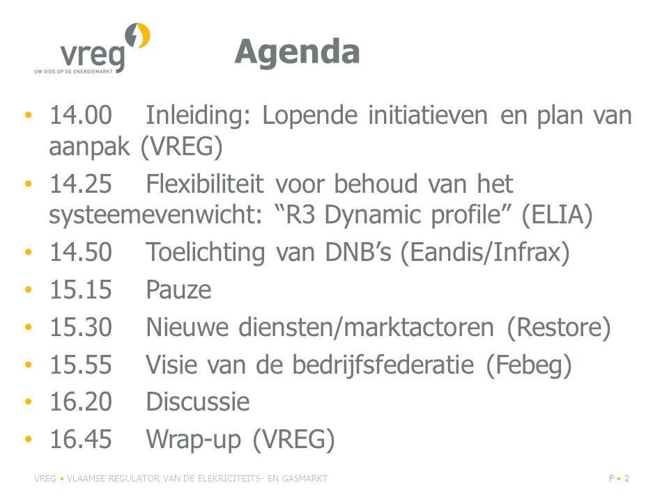 """Agenda 14.00 Inleiding: Lopende initiatieven en plan van aanpak (VREG) 14.25 Flexibiliteit voor behoud van het systeemevenwicht: """"R3 Dynamic profile"""""""