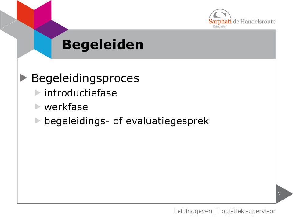 Begeleidingsproces introductiefase werkfase begeleidings- of evaluatiegesprek Leidinggeven | Logistiek supervisor Begeleiden 2