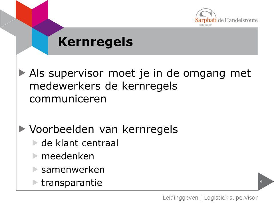 Als supervisor moet je in de omgang met medewerkers de kernregels communiceren Voorbeelden van kernregels de klant centraal meedenken samenwerken tran