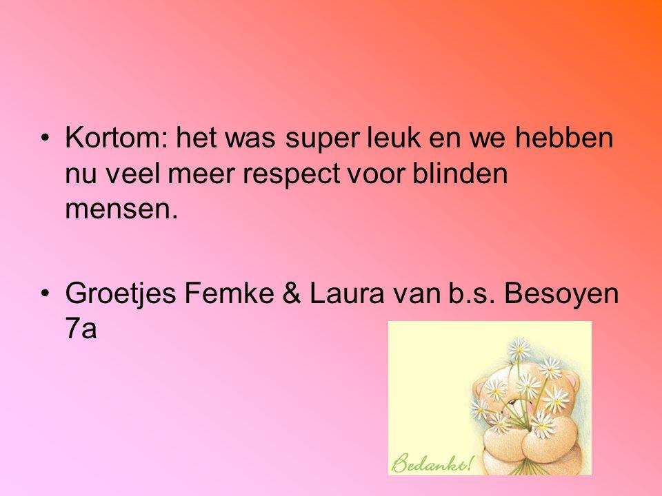 Kortom: het was super leuk en we hebben nu veel meer respect voor blinden mensen. Groetjes Femke & Laura van b.s. Besoyen 7a