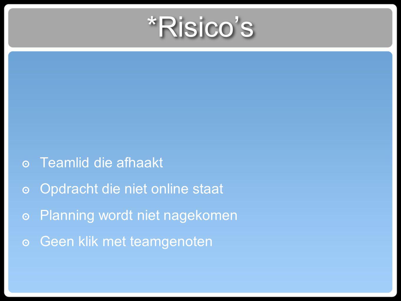 *Risico's ๏ Teamlid die afhaakt ๏ Opdracht die niet online staat ๏ Planning wordt niet nagekomen ๏ Geen klik met teamgenoten