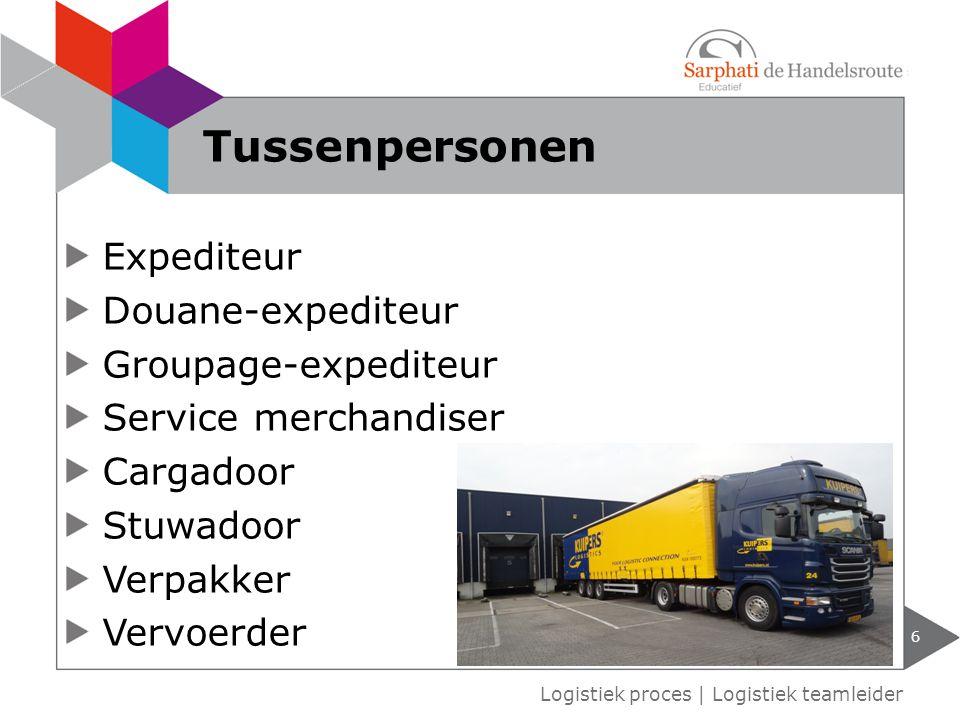 Expediteur Douane-expediteur Groupage-expediteur Service merchandiser Cargadoor Stuwadoor Verpakker Vervoerder 6 Logistiek proces   Logistiek teamleid