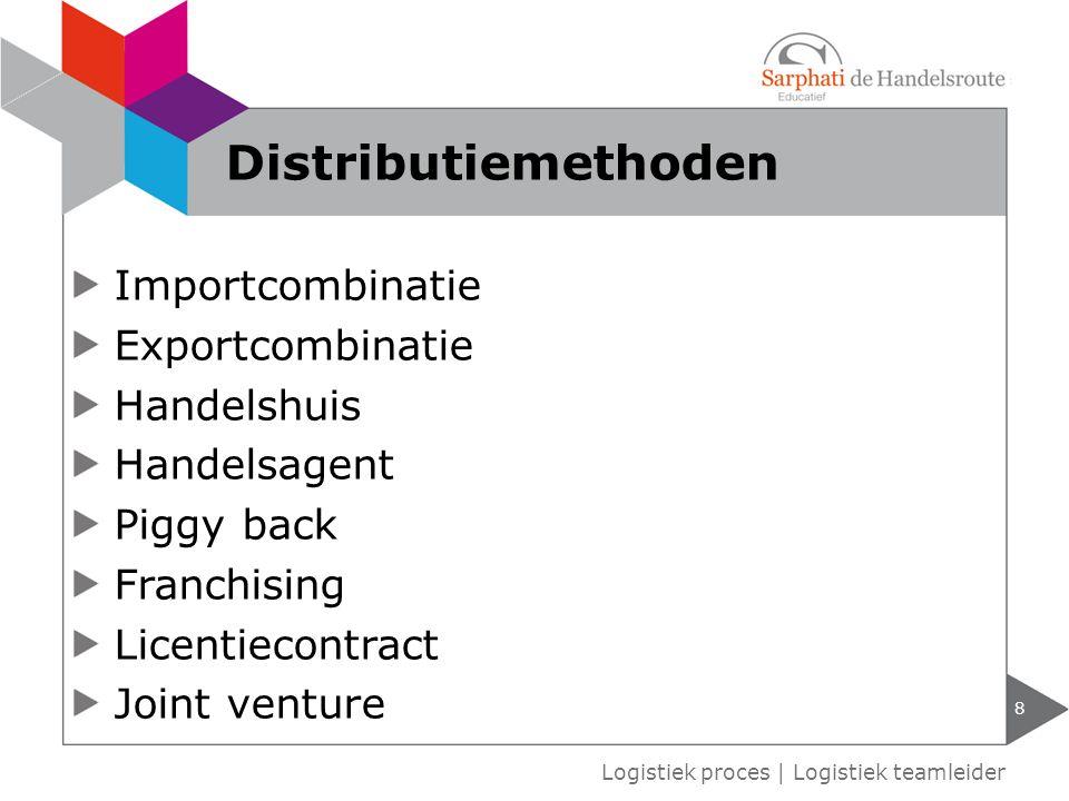 Importcombinatie Exportcombinatie Handelshuis Handelsagent Piggy back Franchising Licentiecontract Joint venture 8 Logistiek proces   Logistiek teamle