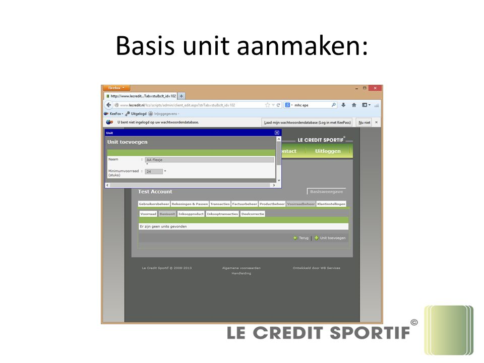 Basis unit aanmaken: