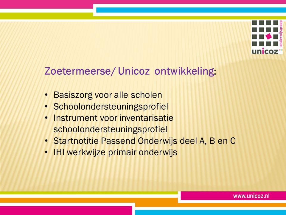 Zoetermeerse/ Unicoz ontwikkeling : Basiszorg voor alle scholen Schoolondersteuningsprofiel Instrument voor inventarisatie schoolondersteuningsprofiel Startnotitie Passend Onderwijs deel A, B en C IHI werkwijze primair onderwijs